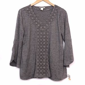 NEW STYLE CO Gray Crochet Floral Lace 3/4 Sleeve